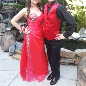 Gorgeous red sparkly long prom dress